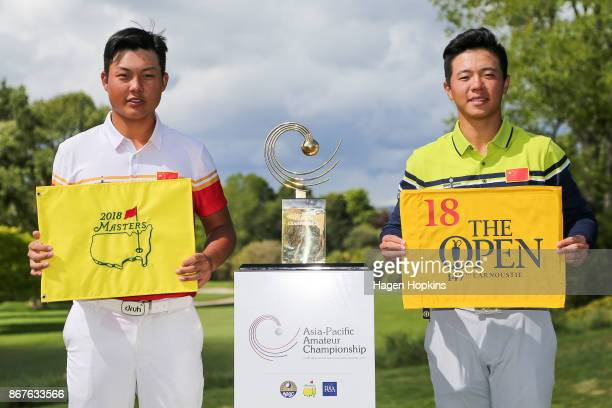 Winner Yuxin Lin of China and runnerup Andy Zhang of China pose after the AsiaPacific Amateur Championship at Royal Wellington Golf Club on October...