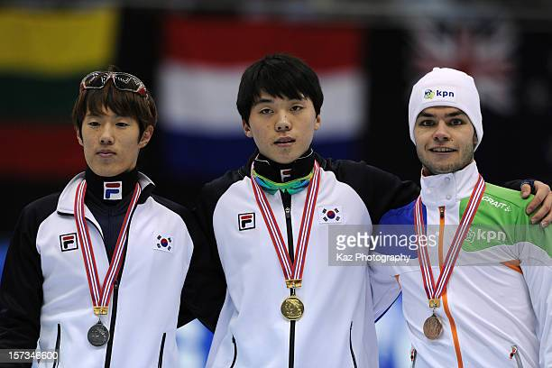 WinnerJinkyu Noh of Korea 2nd PlaceDa Woon Sin of Korea and 3rd Place Sjinkie Knegt of Netherlands at ceremony of Men 1500m Final during day three of...