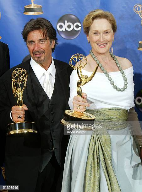 Winners Al Pacino and Meryl Streep winners for Outstanding Actor/Actress Miniseries for HBO's 'Angels in America' pose backstage during the 56th...
