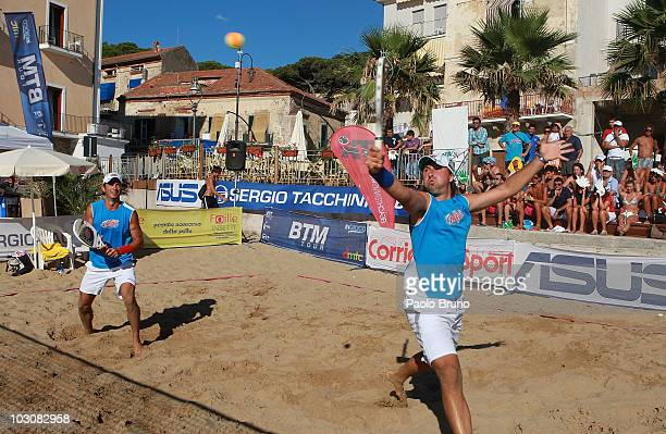 Winners Alan Maldini and Luca Meliconi in action during the final double men at the International Beach Tennis Master Tour 2010 on July 25 2010 in...