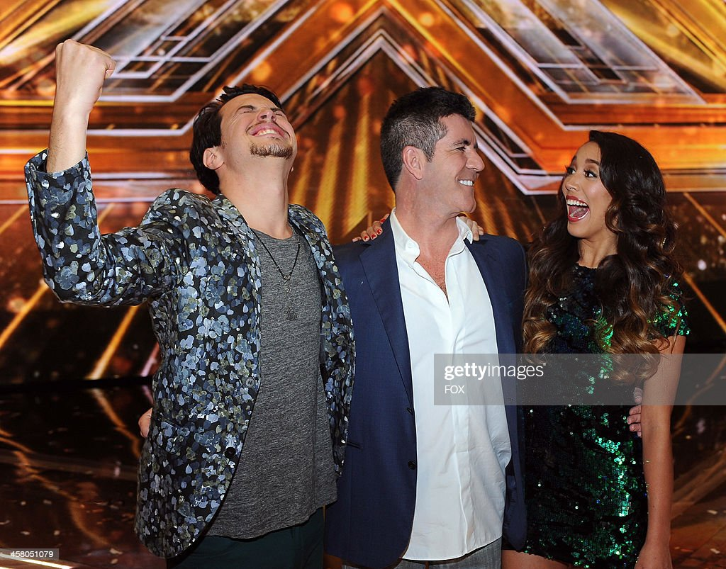 Winners Alex & Sierra with judge Simon Cowell (C) onstage on FOX's 'The X Factor' Season 3 Live Finale on December 19, 2013 in Hollywood, California.