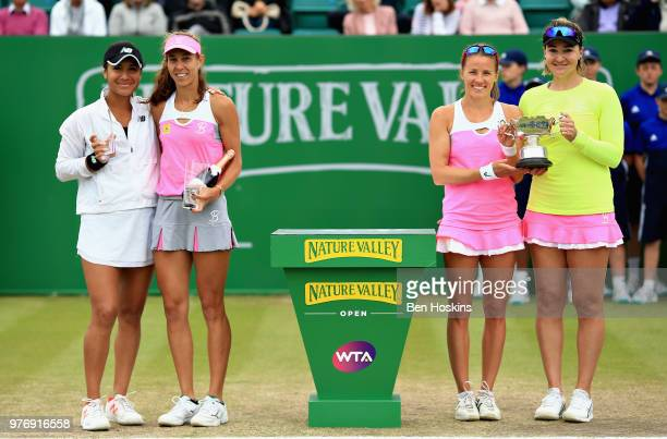 Winners Alicja Rosolska of Poland and Abigail Spears of USA with runners up Mihaela Buzarnescu of Romania and Heather Watson of Great Britain in the...