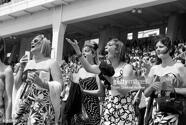 Winners and losers in the crowd during a race at Epsom, June 2007. Epson Downs Racecourse is where the iconic Derby Festival dating back to 1780 is...