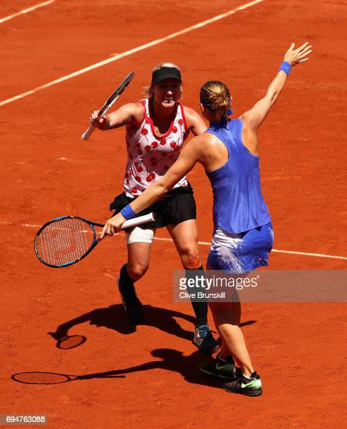 Winners, Bethanie Mattek-Sands of The United States and Lucie Safarova of The Czech Republic celebrate victory following the ladies doubles final...