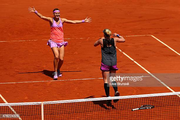 Winners Bethanie Mattek-Sands of the United States of America and Lucie Safarova of Czech Republic celebrate match point in the Women's Doubles Final...