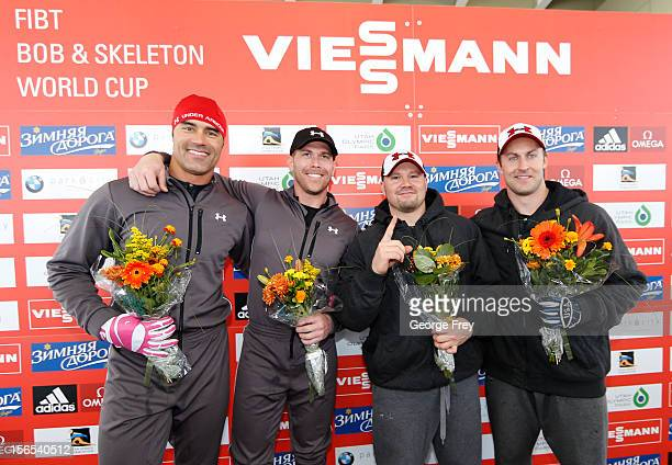 Winners Charles Berkeley and Cory Butner of the U.S. And Steven Holcomb and Curtis Tomasevicz of the U.S. Celebrate after the FIBT men's bobsled...