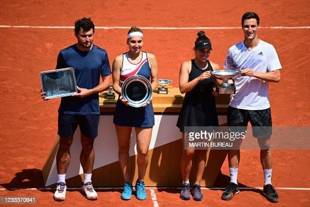 Winners Desirae Krawczyk of the US , Britain's Joe Salisbury and second-placed Russia's Elena Vesnina and Russia's Aslan Karatsev , pose with their...