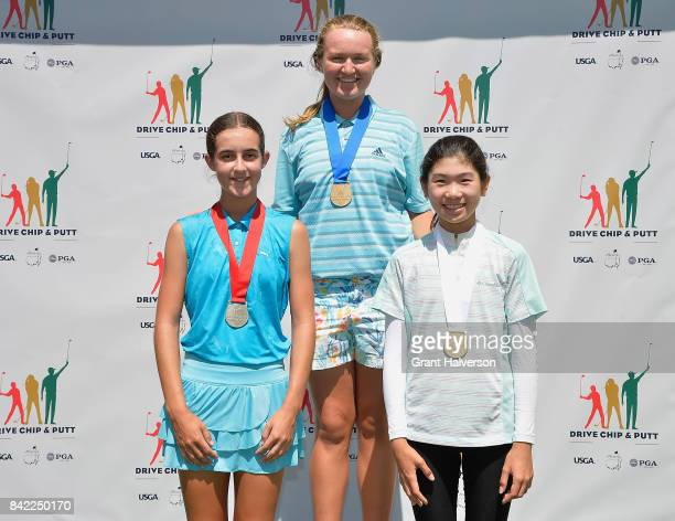 Winners Emma Schimpf Katherine Schuster and Julie Shin of the Girls 1415 Division of The Drive Chip and Putt Championship at Pinehurst Resort on...