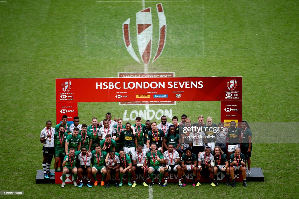 Winners Fiji, runners-up South Africa and third place finishers Ireland pose for a photo on day two of the HSBC London Sevens at Twickenham Stadium on June 3, 2018 in London, United Kingdom.