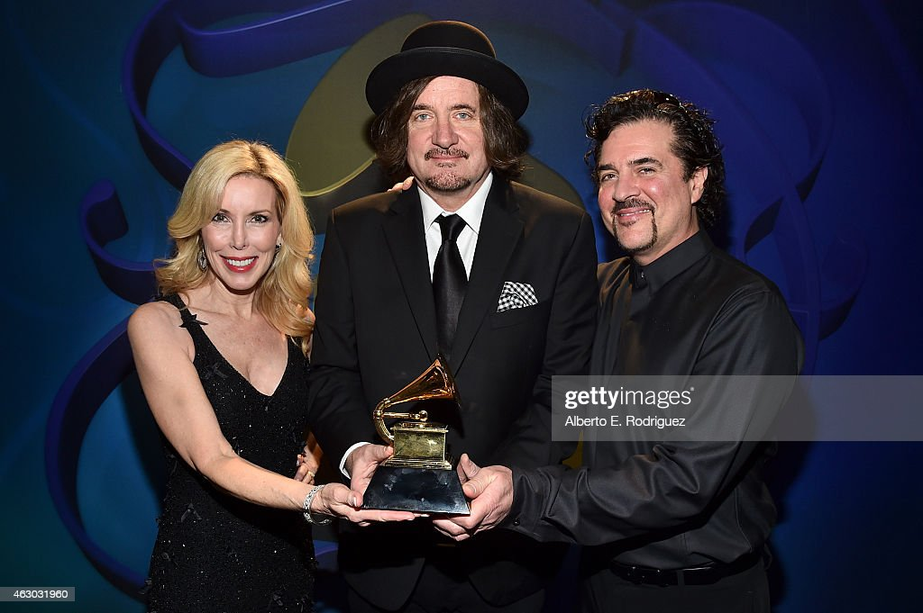 Winners for Best Country Song Kim Campbell, composer Julian Raymond, and Big Machine Records Founder, Scott Borchetta pose at the Premiere Ceremony during The 57th Annual GRAMMY Awards at Nokia Theatre L.A. LIVE on February 8, 2015 in Los Angeles, California.