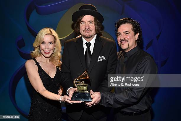Winners for Best Country Song Kim Campbell composer Julian Raymond and Big Machine Records Founder Scott Borchetta pose at the Premiere Ceremony...