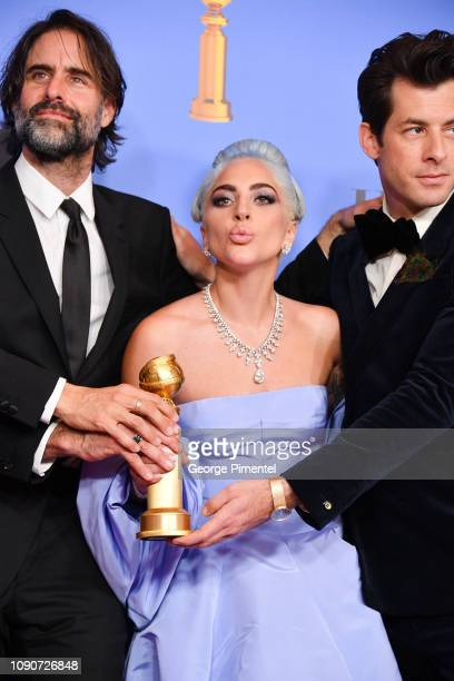 Winners for Best Original Song Motion Picture for 'Shallow A Star is Born' Mark Ronson Lady Gaga and Andrew Wyatt pose in the press room during the...