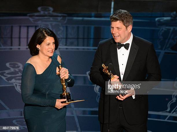 Winners for Best Production Design The Grand Budapest Hotel Adam Stockhausen and Anna Pinnock give their acceptance speech on stage at the 87th...