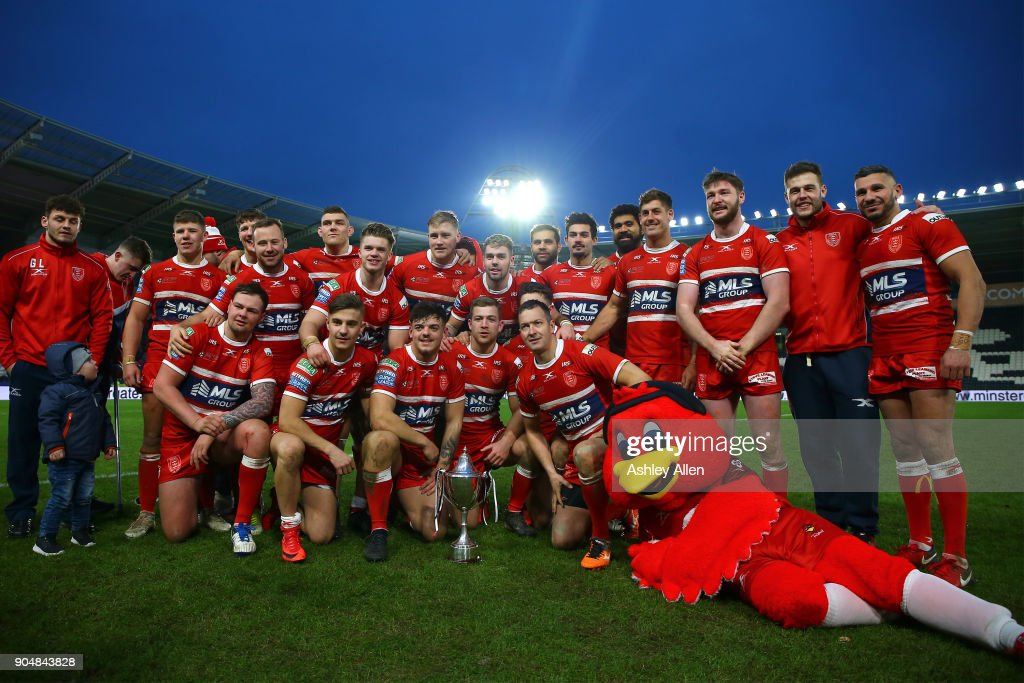 Winners Hull KR pose with the Clive Sullivan Trophy during the Clive Sullivan Trophy, pre-season friendly match between Hull FC and Hull KR at KCOM Stadium on January 14, 2018 in Hull, England.