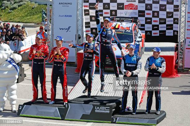Winners Hyundai Shell Mobis WRT Belgian driver Thierry Neuville and his Belgian copilot Nicolas Gilsoul secondplaced Citroen Total WRT French driver...
