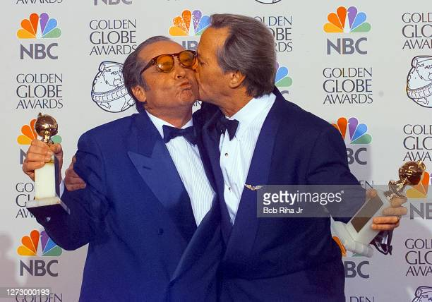 Winners Jack Nicholson and Peter Fonda backstage at the 55th Annual Golden Globes Awards Show, January 18, 1998 in Beverly Hills, California.