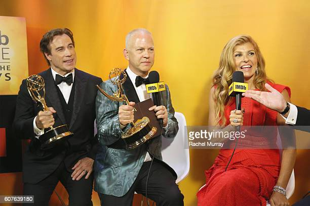 Winners John Travolta Ryan Murphy and actress Connie Britton attend IMDb Live After The Emmys presented by TCL on September 18 2016 in Los Angeles...