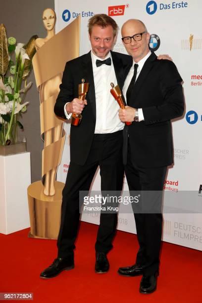 Winners Julian Maas and Christoph M Kaiser during the Lola German Film Award winners board at Messe Berlin on April 27 2018 in Berlin Germany