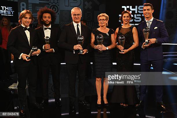 Winners Luka Modric Marcelo Claudio Ranieri Silvia Neid Carli Lloyd and Cristiano Ronaldo pose with their The Best FIFA Awards during The Best FIFA...