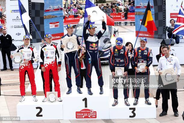 Winners M Sport Ford World Rallye team French driver Sebastien Ogier his copilot Julien Ingrassia secondplaced Toyota Gazoo Racing WRT Estonian...