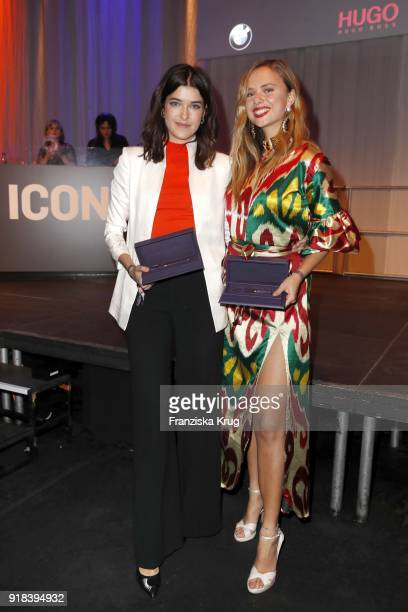Winners Marie Nasemann and Jeanne de Kroon during the Young ICONs Award in cooperation with ICONIST at SpindlerKlatt on February 14 2018 in Berlin...