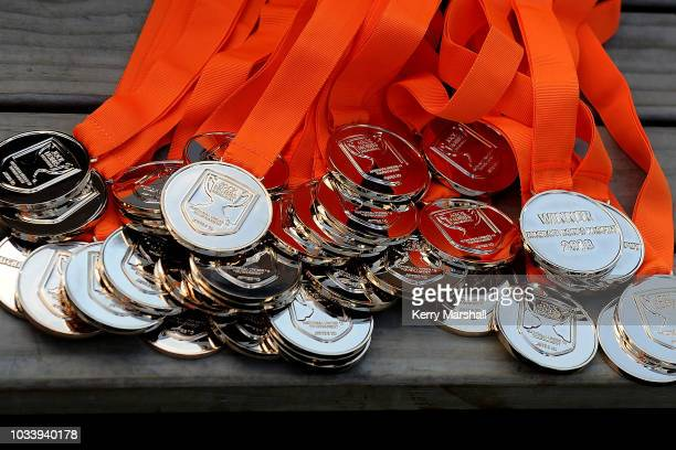 Winners medals during the Jock Hobbs U19 Rugby Tournament on September 15 2018 in Taupo New Zealand