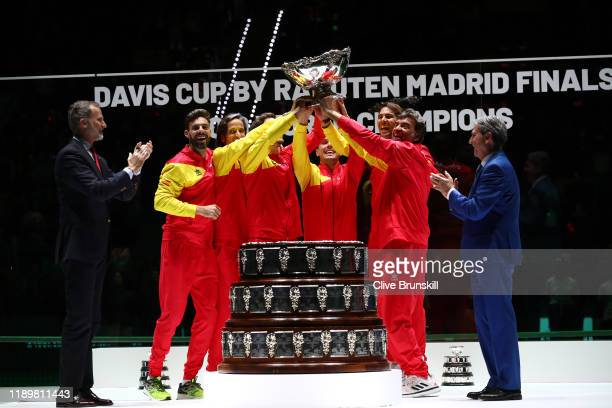 Winners members of Team Spain Marcel Granollers, Feliciano Lopez, Pablo Carreno Busta, Roberto Bautista Agut, Roberto Bautista Agut, Rafael Nadal and...