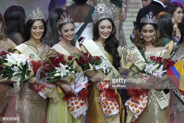 Miss EarthAir Nina Robertson of Australia Miss EarthFire Lada Akimova of Russia Miss Earth 2017 Karen Ibasco of the Philippines and Miss EarthWater...