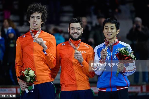 Winners of 1000 meters for men gold medal SANDOR LIU SHAOLIN silver medal VIKTOR KNOCH bronze medal VICTOR AHN during European Short Track speed...