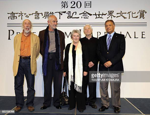 Winners of 2008 Praemium Imperiale, Richard Hamilton from England in painting, Peter Zumthor from Switerland in architecture, Emilia and Ilya...
