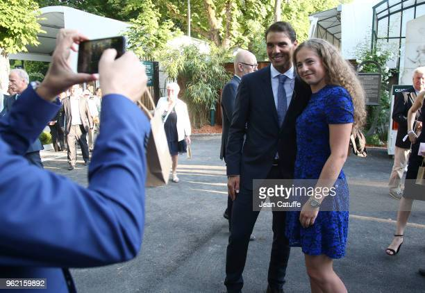 Winners of 2017 French Open Rafael Nadal of Spain and Jelena Ostapenko of Lettonia following the draws of the 2018 French Open at Roland Garros...