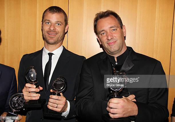 Winners of Best Book of a Musical Matt Stone and Trey Parker attends the press room during the 65th Annual Tony Awards at the The Jewish Community...