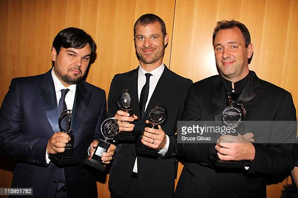 Winners of Best Book of a Musical Robert Lopez Matt Stone and Trey Parker attend the press room during the 65th Annual Tony Awards at the The Jewish...
