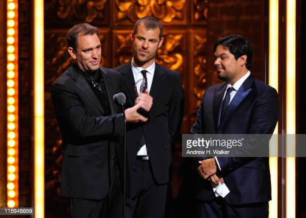 Winners of Best Book of a Musical Trey Parker Matt Stone and Robert Lopez speak on stage during the 65th Annual Tony Awards at the Beacon Theatre on...