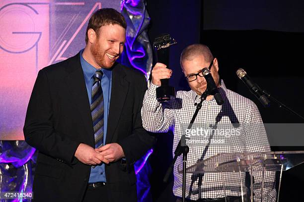 Winners of Best Comedy Trailer producer Adam Mays and editor Brandon Selter on stage during the 16th annual Golden Trailer Awards held at Saban...