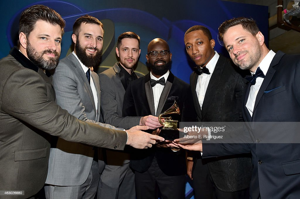 Winners of Best Contemporary Christian Music Performance Song (L-R) Ran Jackson, Joseph Prielozny, Kenneth Chris Mackey, Torrance Esmond, Lecrae Moore, Ricky Jackson pose at the Premiere Ceremony during The 57th Annual GRAMMY Awards at Nokia Theatre L.A. LIVE on February 8, 2015 in Los Angeles, California.