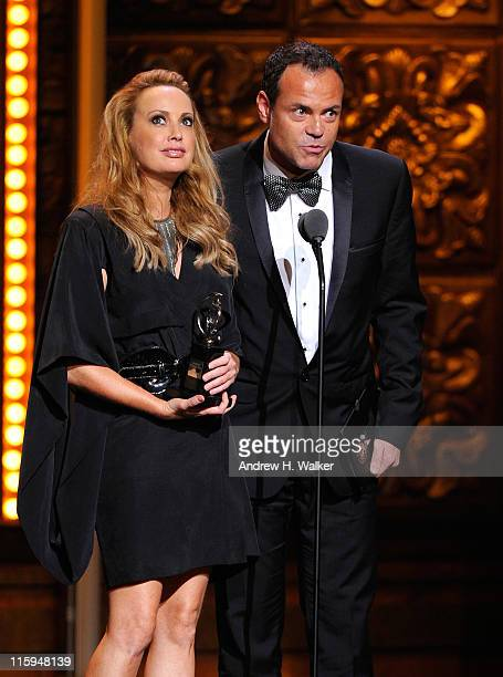Winners of Best Costume Design of a Musical Lizzy Gardiner and Tim Chappel speak on stage during the 65th Annual Tony Awards at the Beacon Theatre on...