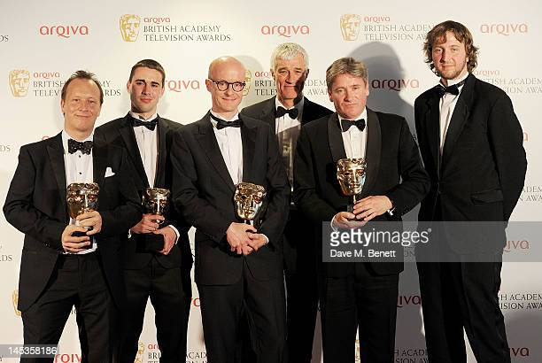 Winners of Best Current Affairs for 'Undercover Care' Paul Kenyon Joe Casey Matthew Chapman and Frank Simmonds and presenter Jeremy Bowen pose in...