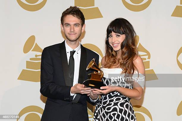Winners of Best Dance Recording, Zedd and Foxes pose in the press room during the 56th GRAMMY Awards at Staples Center on January 26, 2014 in Los...