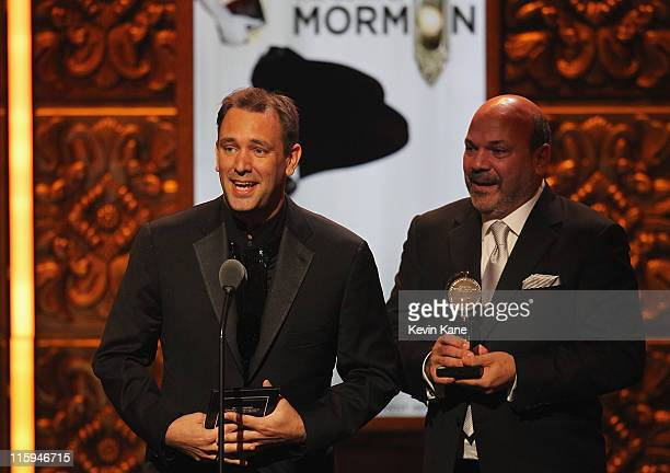 Winners of Best Direction of a Musical Trey Parker and Casey Nicholaw on stage during the 65th Annual Tony Awards at the Beacon Theatre on June 12...