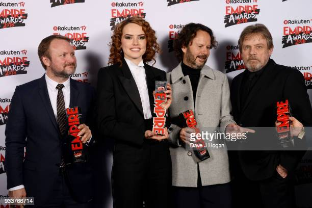 Winners of Best Film for 'Star Wars The Last Jedi' director Rian Johnson Daisy Ridley producer Ram Bergman and Mark Hamill pose in the winners room...