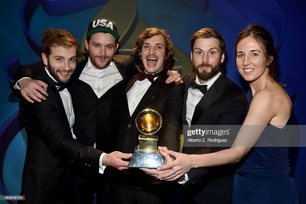 Winners of Best Music Video producer Solal Micenmacher, directors Clement Durou and Pierre Dupaquier, producer Jett Steiger, and director Kathleen Heffernan pose at the Premiere Ceremony during The 57th Annual GRAMMY Awards at Nokia Theatre L.A. LIVE on February 8, 2015 in Los Angeles, California.