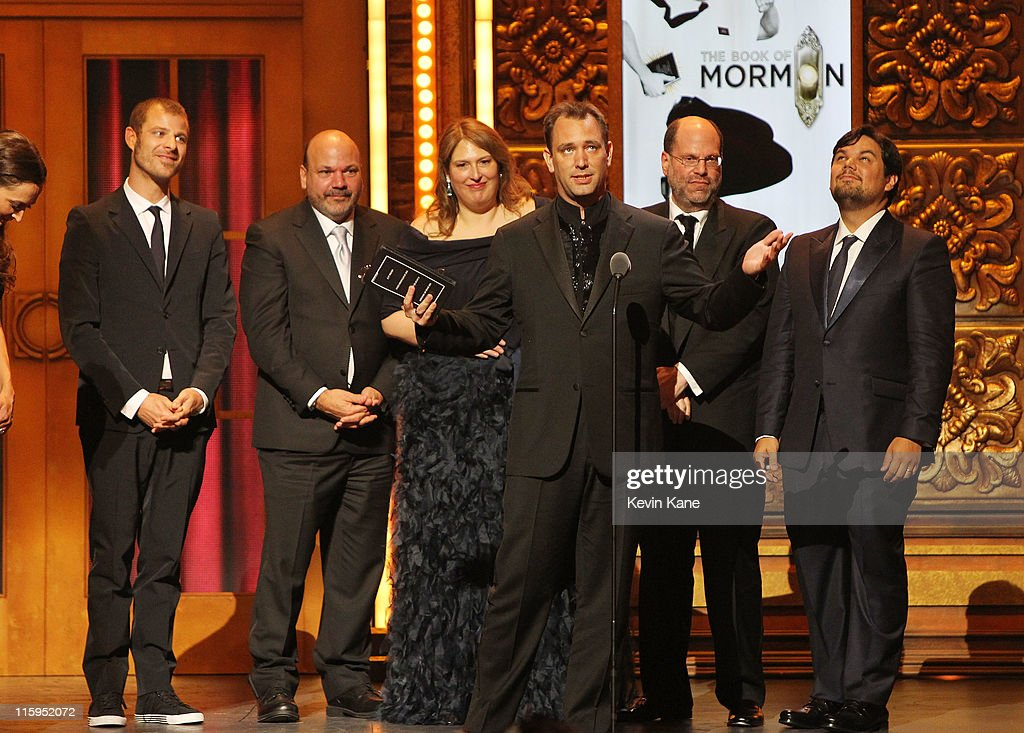 Winners of Best Musical for 'Book of Mormon' Trey Parker (2nd R), Matt Stone, Robert Lopez (R) and crew speak on stage during the 65th Annual Tony Awards at the Beacon Theatre on June 12, 2011 in New York City.