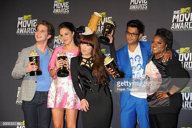 Winners of Best Musical Moment Award Ben Platt Alexis Knapp Hana Mae Lee Utkarsh Ambudkar and Ester Dean pose at the 2013 MTV Movie Awards held at...