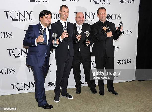 Winners of Best Musical Robert Lopez, Matt Stone, Casey Nicholaw and Trey Parker attend the press room during the 65th Annual Tony Awards at the The...