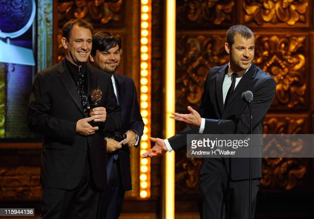 Winners of Best Original Score Written for the Theater Trey Parker Robert Lopez and Matt Stone speak on stage during the 65th Annual Tony Awards at...