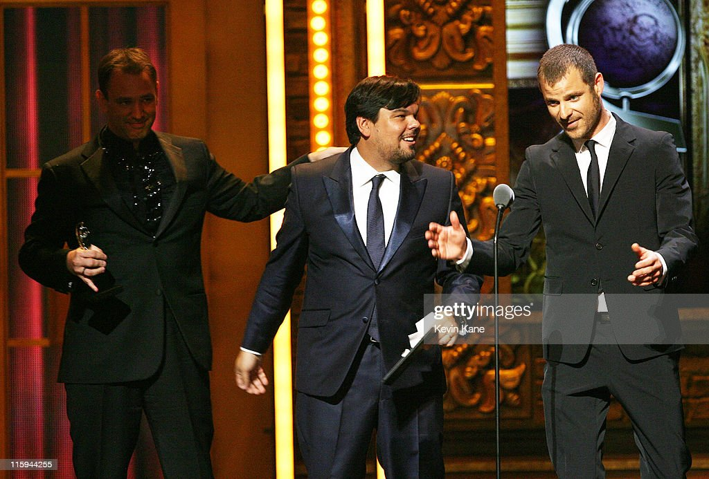 Winners of Best Original Score Written for the Theater Trey Parker, Robert Lopez and Matt Stone speak on on stage during the 65th Annual Tony Awards at the Beacon Theatre on June 12, 2011 in New York City.