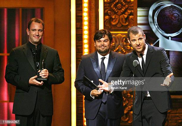 Winners of Best Original Score Written for the Theater Trey Parker Robert Lopez and Matt Stone speak on on stage during the 65th Annual Tony Awards...