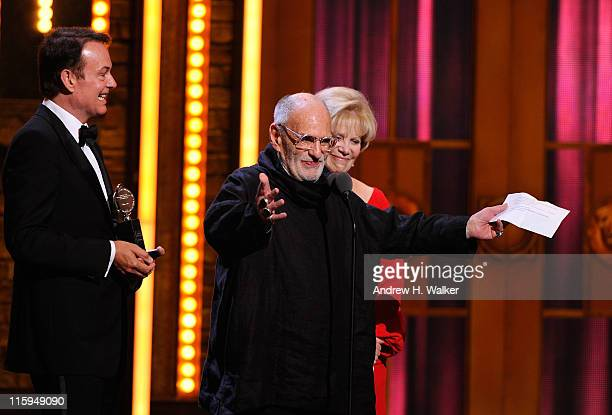 Winners of Best Revival of a Play Larry Kramer and Daryl Roth speak on stage during the 65th Annual Tony Awards at the Beacon Theatre on June 12 2011...
