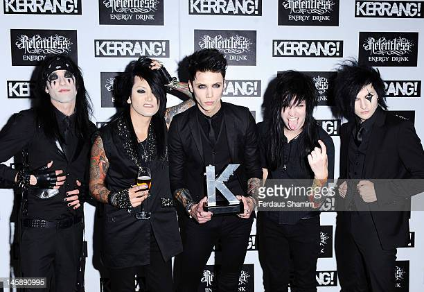 Winners of Best Single Black Veil Brides for 'Rebel Love SOng' pose in the Winners Area during the Kerrang Awards at The Brewery on June 7 2012 in...
